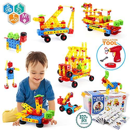 VATOS Konstruktionsspielzeug STEM Spielzeug Bauen 327 Stück Kreatives...
