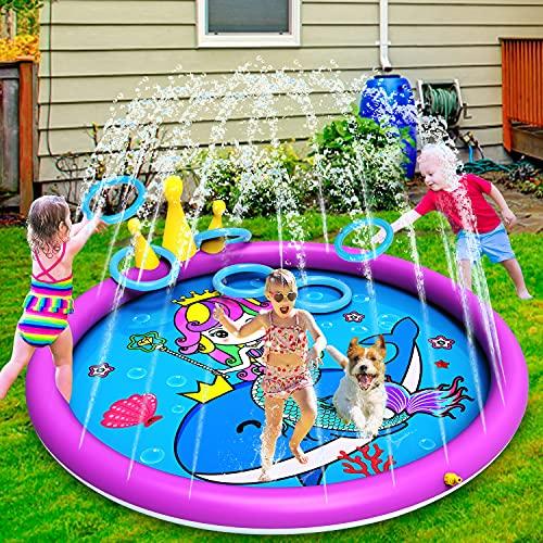 INNOCHEER Splash Pad, Sprinkler Play Matte, 172cm Wasser-Spielmatte...