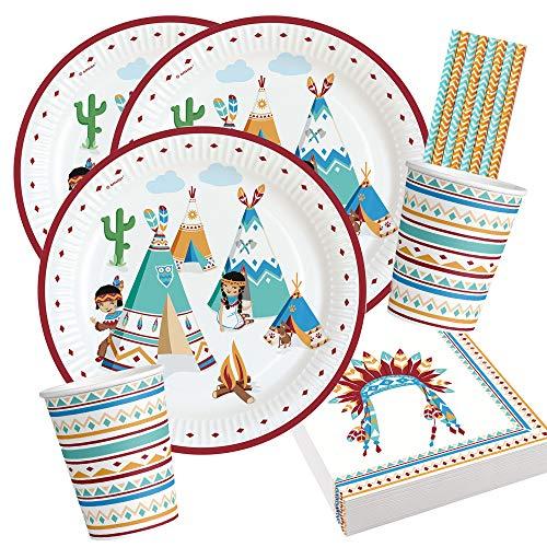 Amscan/Diverse 44-teiliges Party-Set - Indianer Tipi & Tomahawk -...