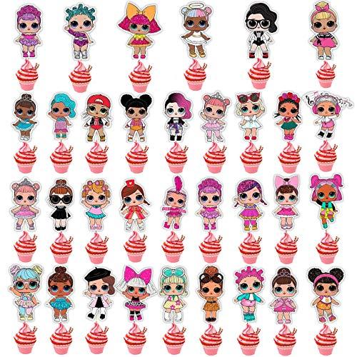NAXIEE 32 Stücke LOL Beidseitiger Cupcake Topper Geburtstag Kuchen Dekorationen,Kinder Geburtstag Party...