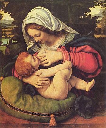 gemeinfrei - Madonna mit dem grünen Kissen, beim stillen.