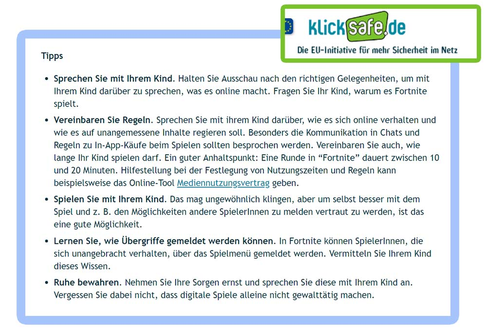 Fortnite Battle Royal Regeln für Kinder